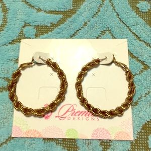 Antiqued goldstone twisted rope style hoops